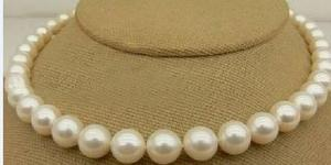 """Huge 18""""10-11mm genuine natural freshwater white round pearl necklace 925silver"""