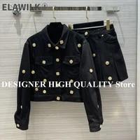 2021 new streetwear 2 piece set women%e2%80%98s suits lapel gold buttons denim jacket with mini skirt suit new autumn cute casual outfit