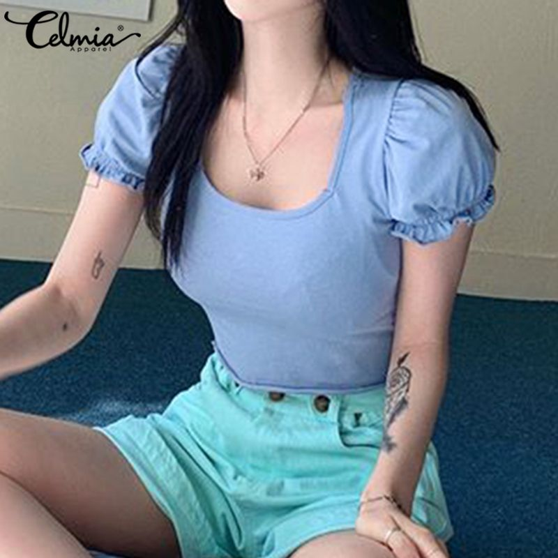 Camiseta corta de talla grande Celmia 2020 de verano Sexy de manga corta para mujer, camiseta informal sólida de moda para fiesta, ropa de calle ajustada Blusa 5XL