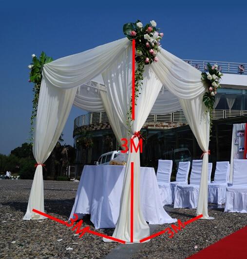 مكعب نسيج الحرير الأبيض ، ستارة خلفية الزفاف ، خيمة Mandap ، زخرفة الحفلة ، 3 م * 3 م * 3 م