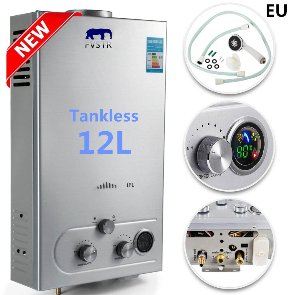 Fast Shipping! 12L LPG GAS Hot Water Heater Propane Tankless Instant Boiler Stainless Steel CE