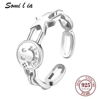 somi l ia genuine 100 925 sterling silver smiley minimalist simple open adjustable ring women lady fine jewelry sml2877