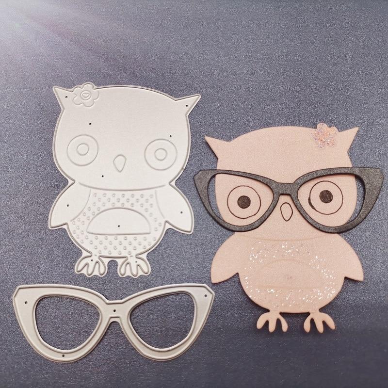 91*83mm Owl with glasses Metal steel Cutting Dies DIY Scrapbooking Photo Album Embossing paper Cards