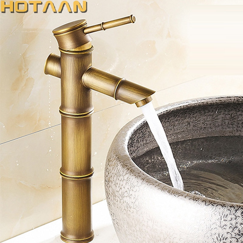 Basin Faucet Antique Brass Bamboo Style Faucet Vintage Bronze Finish Copper Sink Faucet Single Handle Hot and Cold Water Tap