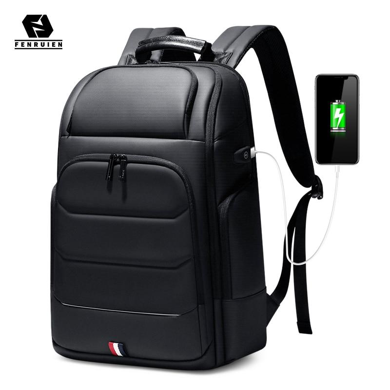 Fenruien Waterproof Backpacks USB Charging School Bag Anti-theft Men Backpack Fit 15.6 Inch Laptop T