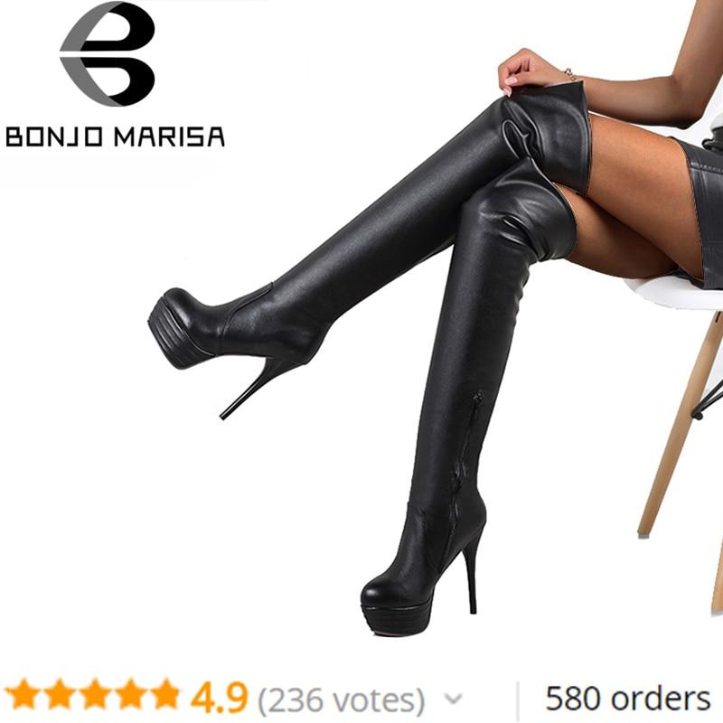 BONJOMARISA Plus rozmiar 32-46 Lady Sexy Over Knee zakolanówki buty kobiety moda jesień buty na cienkich wysokich obcasach platforma kobiet buty kobieta