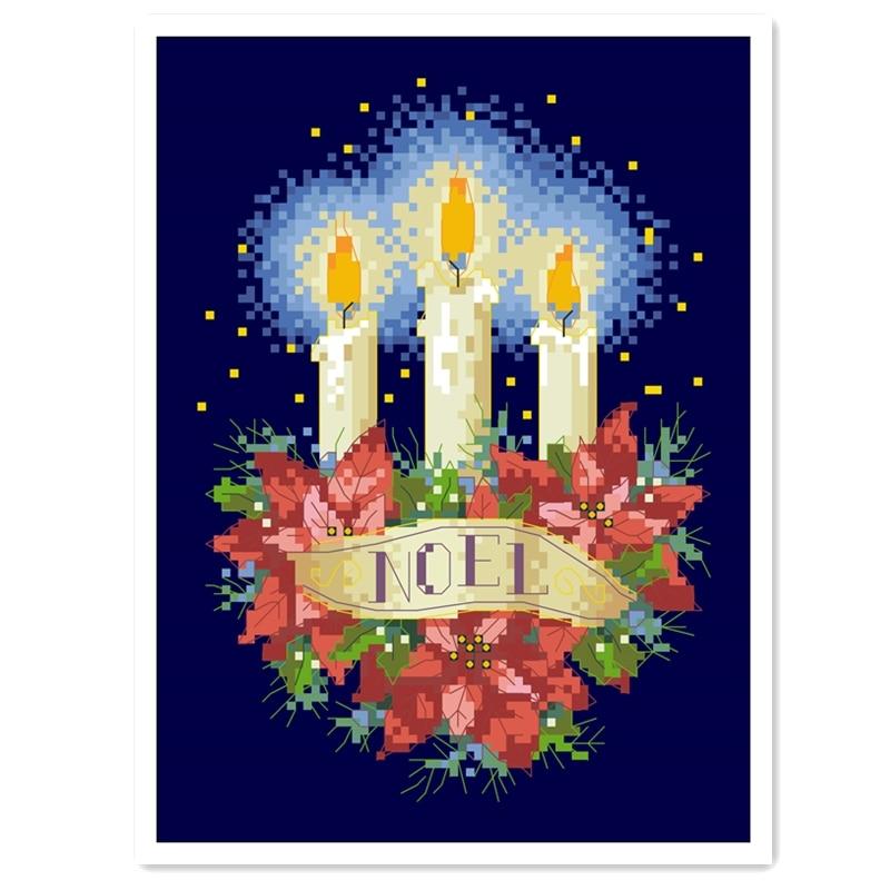 Candlelit Noel ornamento Paquete de punto de cruz 18ct 14ct 11ct bordado de hilo de algodón azul profundo DIY hecho a mano costura
