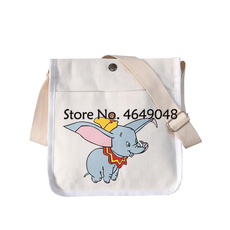 Bandolera de hombro para mujer de Disney Dumbo Canves, bonito bolso para muñeca de dibujos animados para mujer, bolso de hombro para escuela