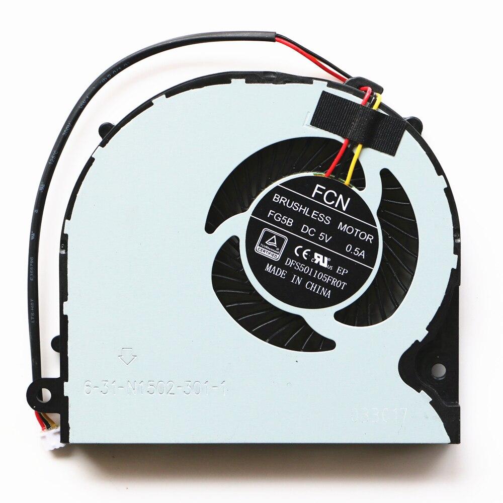 Nuevo ventilador de Cpu Original para Metabox Clevo P650SE P650SA P651SE P651SG Cpu ventilador de refrigeración FCN DFS501105FR0T FG5B 6-31-N1502-301