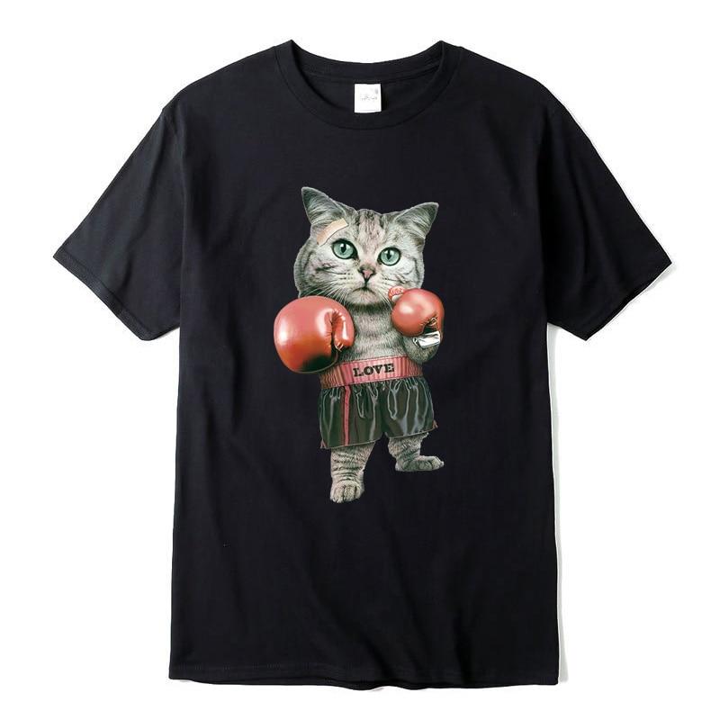 XIN YI Men's T-shirt Top Quality 100% cotton Funny t shirts Boxing cat printing tshirt men tshirt cool t-shirt male tee shirts xin yi men s t shirt100