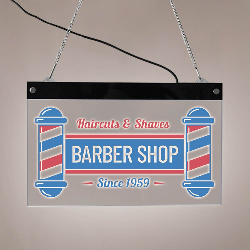 Haircuts & Shaves Barber Shop LED Electronic Lighted Sign Hairdresser Custom Hair Salon Acrylic LED Edge Lit Barbershop Logo
