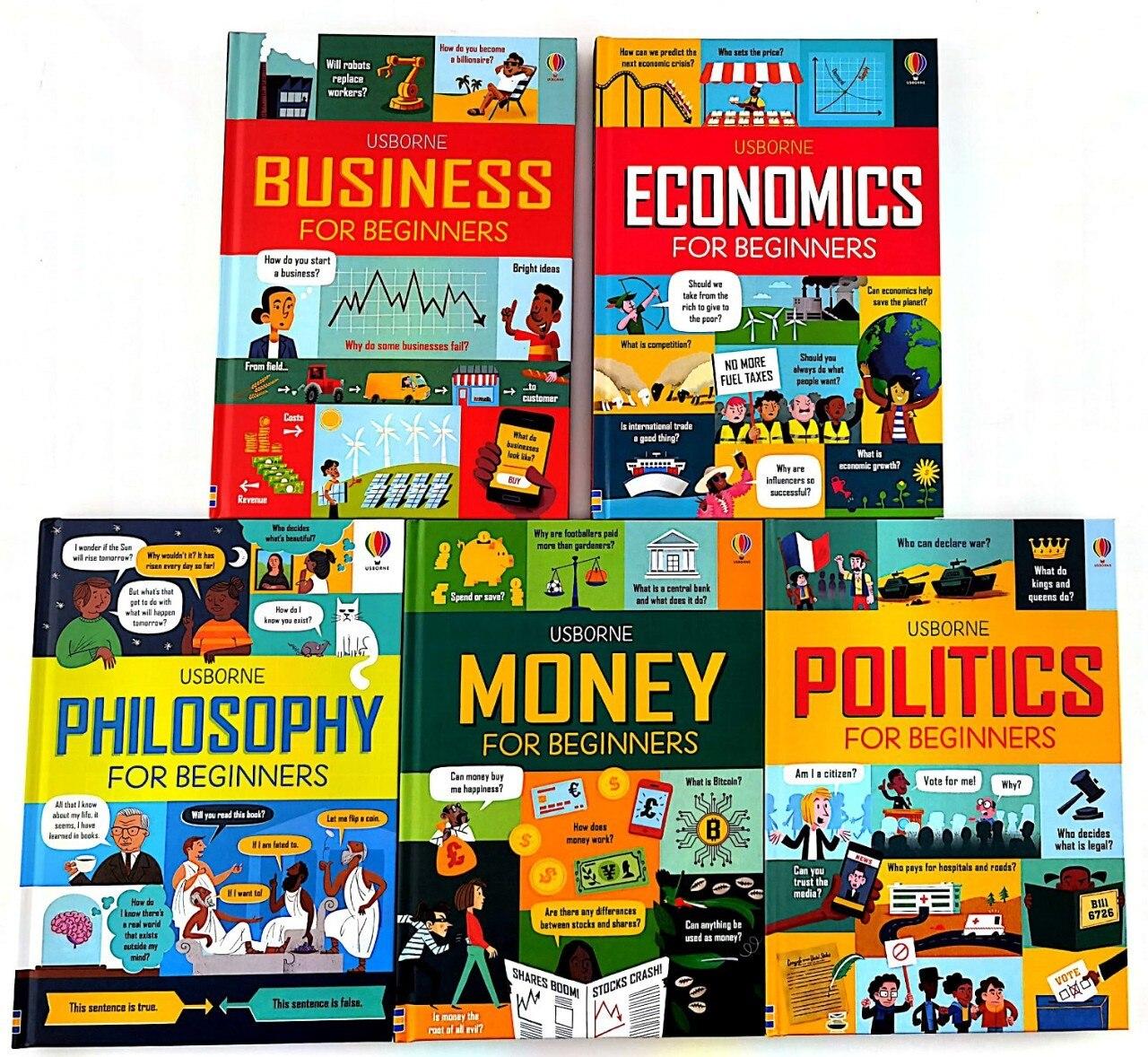 5PCS/Set Usborne Money Business Economics Philosophy Politics for Beginners Kids English Picture Book Hard Cover Age 10 to 13+
