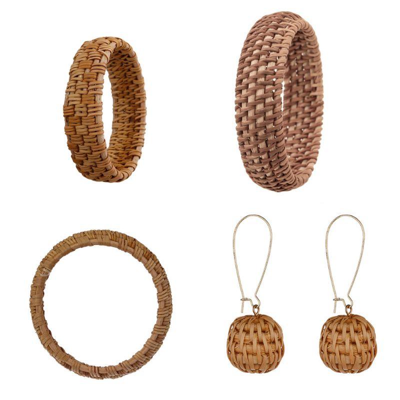 Étnico hecho a mano planta Natural paja ratán tejido pendientes pulsera para mujer joyería de moda