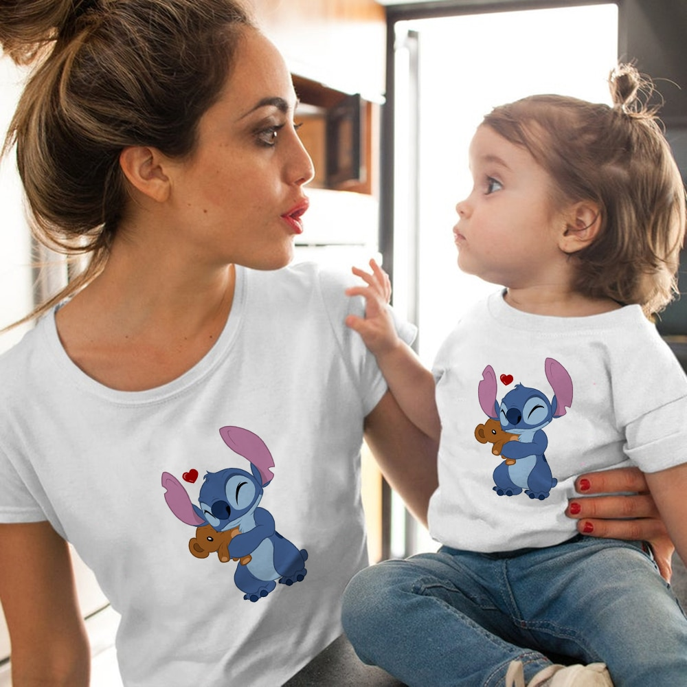 Купить с кэшбэком Disney Kawaii Stitch Baby Girl T-shirt Fashion Family Matching Outfits Mommy and me Summer Clothes Korean Style Family shirt