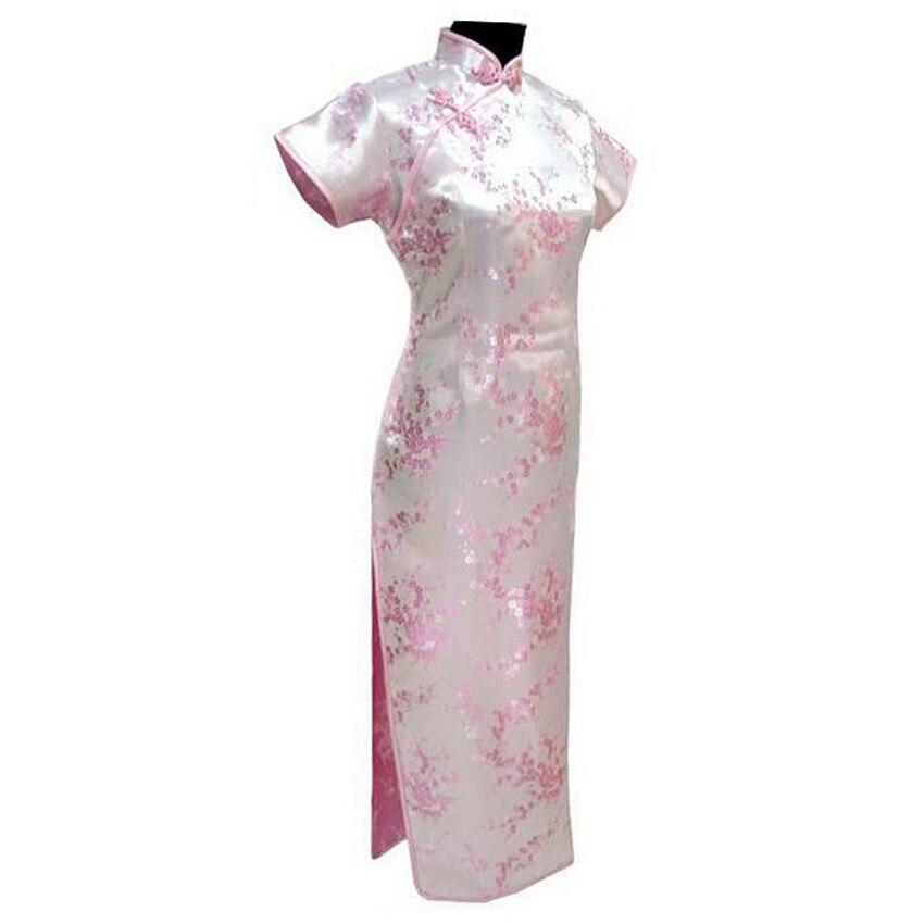 Женское атласное платье-Ципао, розовое длинное платье в традиционном китайском стиле, большие размеры S, M, L, XL, XXL, XXXL, 4XL, 5XL, 6XL, LG03
