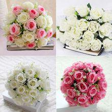 18 kopf Seide Gefälschte Rosen Bouqet Künstliche Blumen für Hochzeit Decrations Braut Posy Blume Event Zeremonie Party Decor Heißer Verkauf