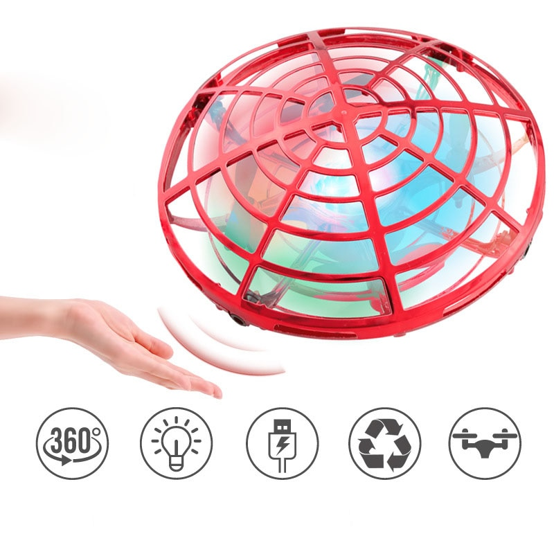 Remote Control Colorful Light 5 Induction Four Axis Aircraft Children's Toy UFO Mini UAV Floating Flying Saucer enlarge