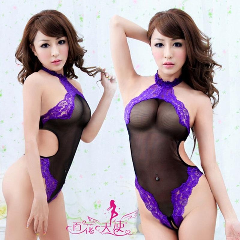 Las mujeres Sexy ropa exótica de Bodysuits ropa Halter de encaje sin espalda translúcido ropa interior Mujer ropa interior sexy lencería Sexy ropa de dormir
