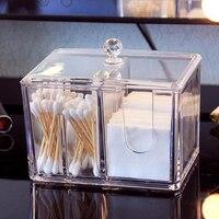 Portable Make Up Cotton Container Acrylic Cotton Swab Makeup Organizer Storage Box Cosmetics Organizer Storage Case