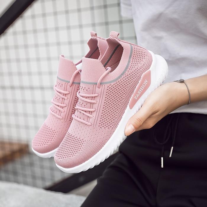 Moipheng Flats Women Sneakers Shoes 2020 Spring Sock Sneakers Women Summer Lace Up Flats Women Plus Size Walking Tenis Feminino
