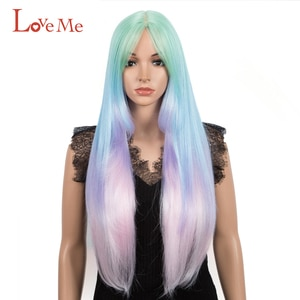 LOVE ME 32 Inch Straight Wig Synthetic With Bangs Long Wigs For Black Women Omber 613 Rainbow Cosplay Wig High Temperature Fiber