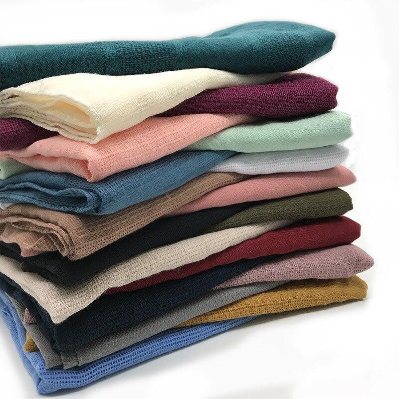 Hijab musulmán de lino para mujer, bufanda de algodón liso de Color...