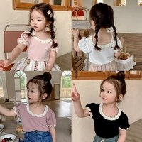 sweet girl top new summer short sleeve ruffle tshirt fashion children solid color cotton knitted tops
