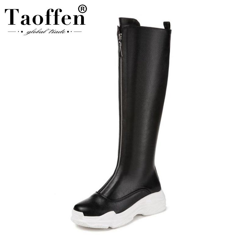 Botas Taoffen negras para mujer, botas de invierno hasta la rodilla con cremallera frontal y plataforma, zapatos clásicos con punta redonda, tallas 29-43 para mujer