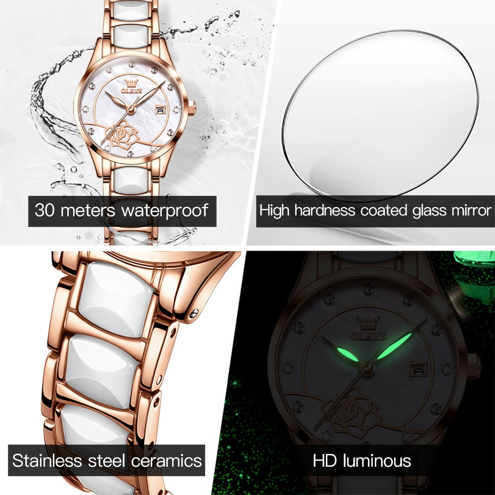 OLEVS Women Watches Top Brand Luxury Casual Quartz Watch Ladies White Ceramic Watches Girls Wristwatches Gifts Relogio Feminino enlarge