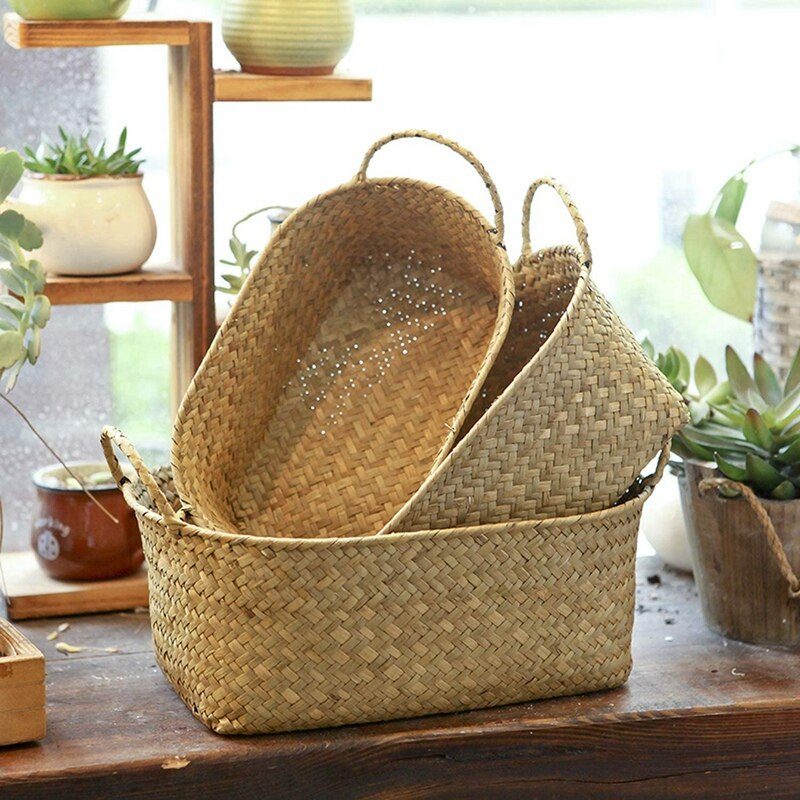 Home Use Environmental Protection Handmade Woven Storage Basket Straw Food Container Organizer Rattan Breadfruit Case(S M L)