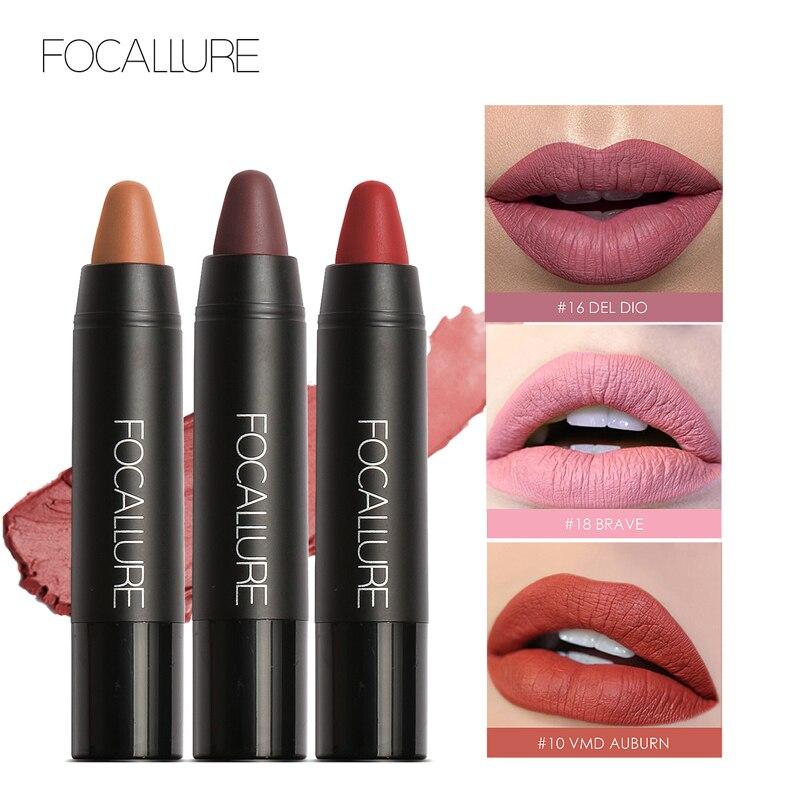 FOCALLURE lápiz labial mate impermeable lápiz labial profesional de larga duración desnudo labios rojos tinte pigmento 19 colores fácil de llevar