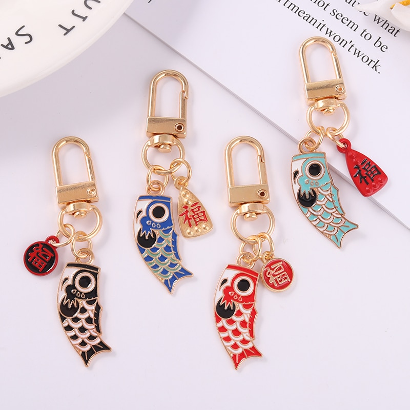 Fish Keychain 68*12MM 4Kinds Color Chinese