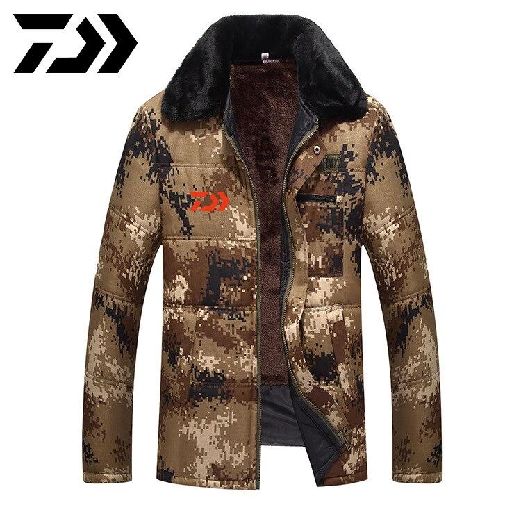 Daiwa casacos jaqueta de inverno dos homens fino engrossar pele com capuz outwear casaco quente roupas de pesca casual casaco masculino roupas de pesca