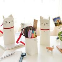 Hot Creative Pencil Bag Kawaii Fabric Cat Emotion Novelty Bag Zipper Pencil Cases Stationary School Multi-function Cosmetic Bags