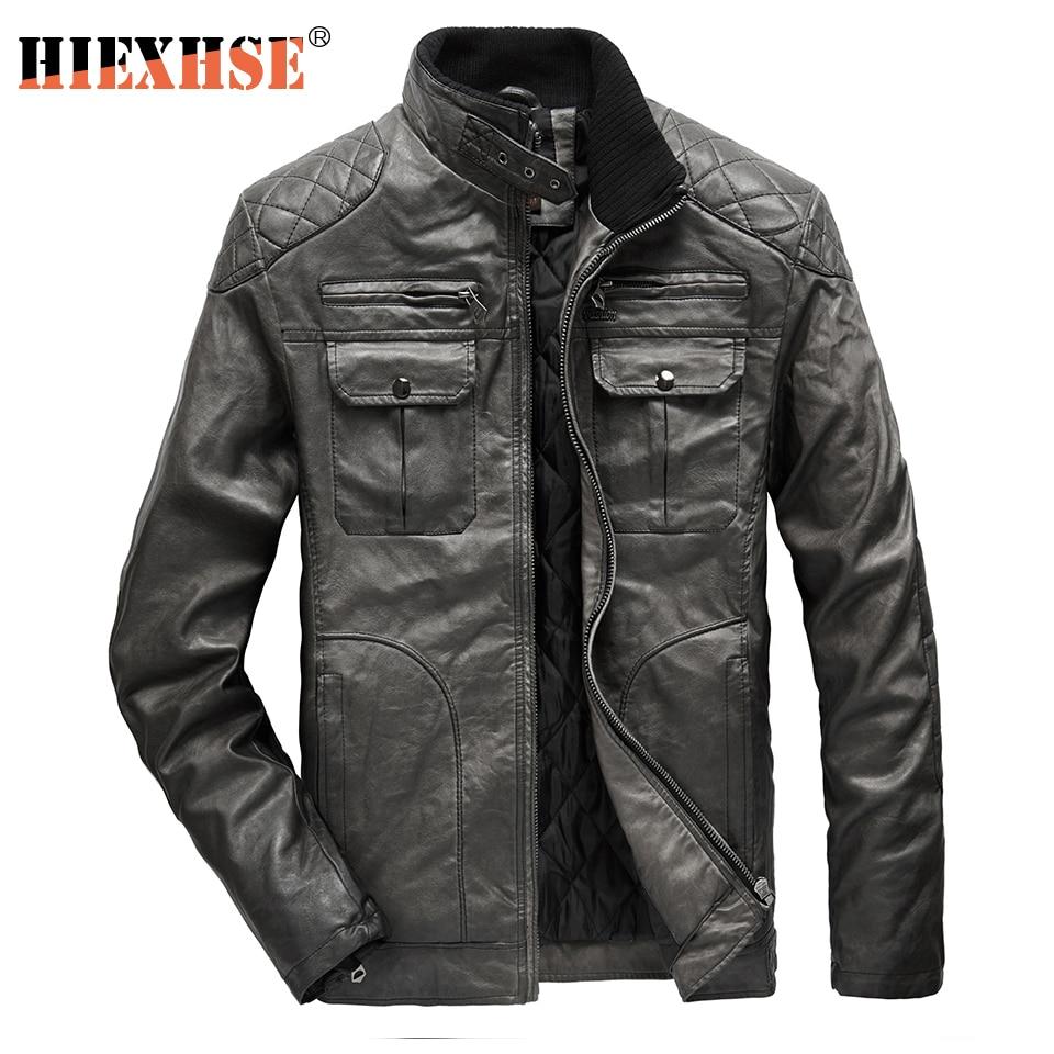 HIEXHSE мужские кожаные куртки мотоциклетные с воротником-стойкой на молнии с карманами мужские пальто из искусственной кожи американского ра...