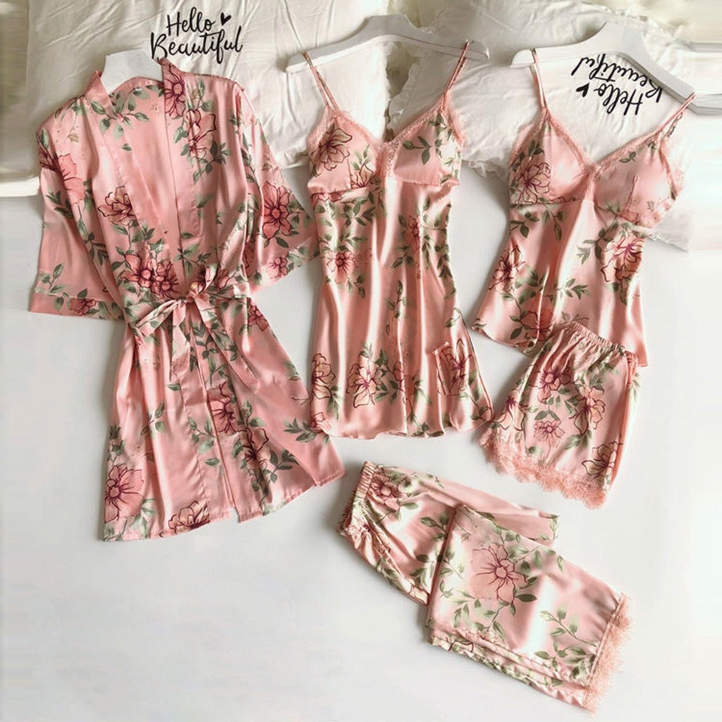5 uds lencería Sexy de seda de las mujeres de conjuntos de pijama Trim satén camisetas bata Babydoll ropa de dormir camisón Pijamas