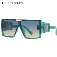 Oversized Goggle Square Sunglasses Women Brand Steampunk One Piece Flat Top Sunglasses Men Vintage B