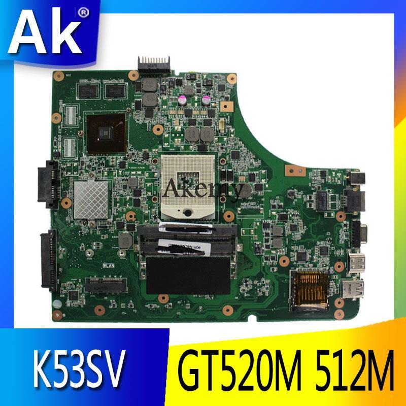 AK K53SV اللوحة لابتوب ASUS K53SM K53SC K53S K53SJ P53SJ A53SJ اختبار اللوحة الأصلية 3.0/3.1 GT520M 512M