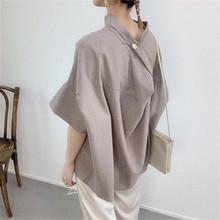 Japanese Solid Summer Blouse Shirt Women Elegant Office Lady Work Wear Top 2021 Korea Style Blouses