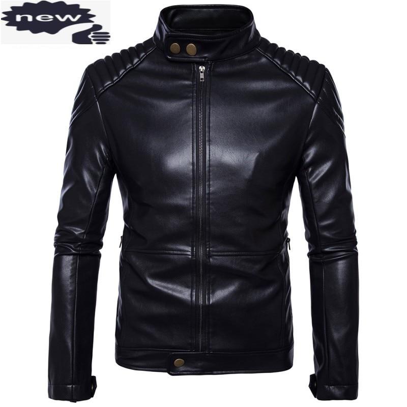 كبير حجم M-5XL رجل بو الجلود أسود بأكمام طويلة سترة واقية معطف دراجة نارية سترة الرجال صخرة نمط قميص معاطف