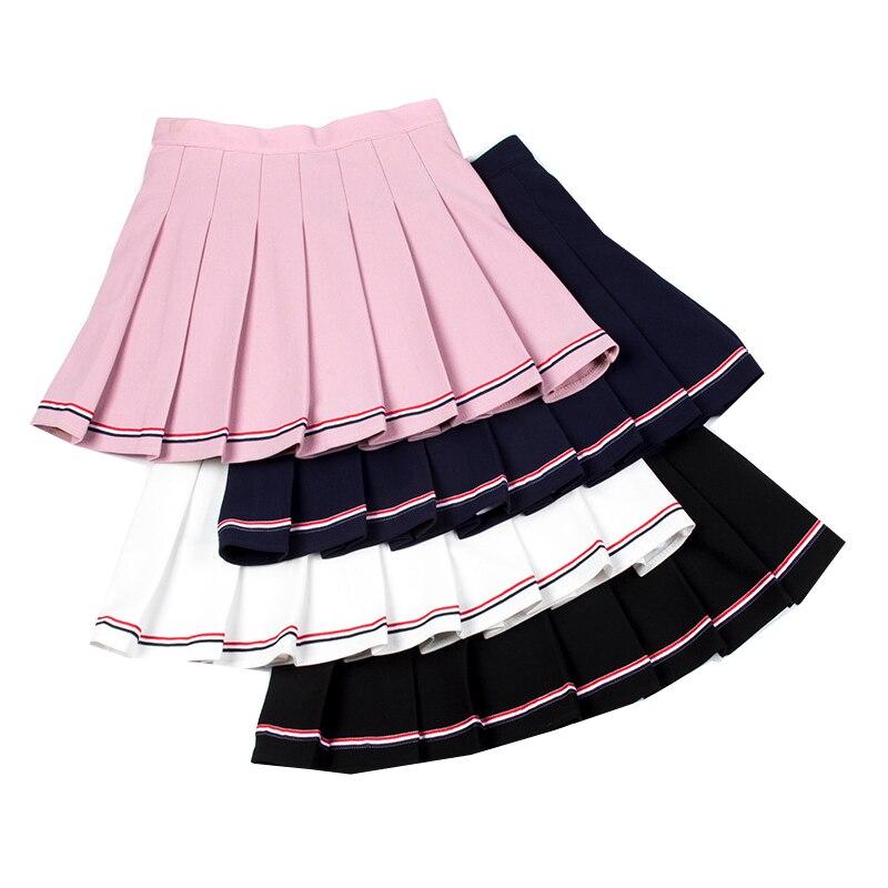 Elastic Waist Women Pleated Skirts Summer High Waist Ladies Mini Skirt Sweet Ladies Girls Dance Skirt Harajuku Female Skirts 2020 women harajuku sweet fresh feeling high waist pleated skirt elastic waist cross embroidery skirt black skirt pleated skirt