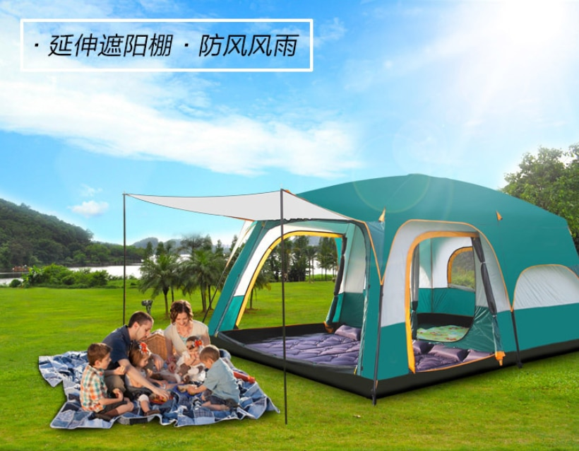 Tent outdoor camping thickened 3-4-6-10 people camping rain proof two rooms one hall luxury villa tourism tent