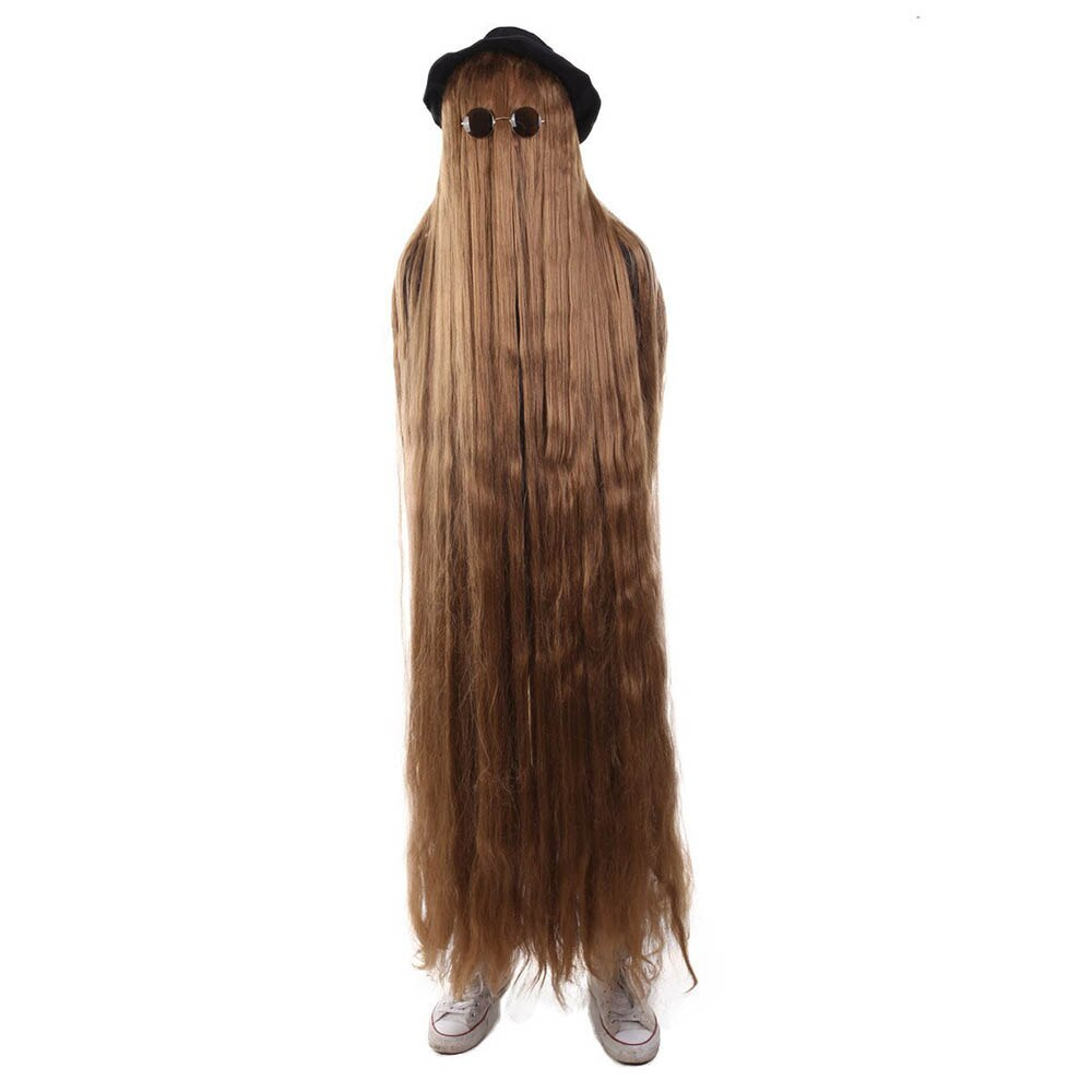 HPO 66 Inch Long Men Costumes Cosplay Party Halloween Wig Premium The Addams Family Cousin It Brown Movie Hat Sunglasses Wigs