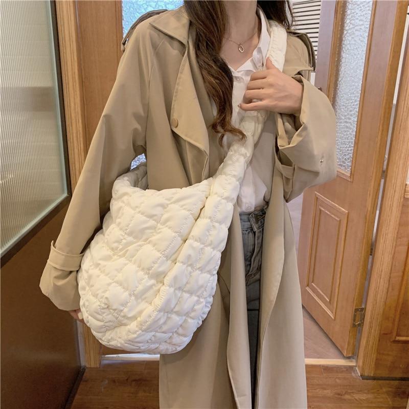 Bolsa de Ombro Bolsa de Algodão Tote para Baixo Pacote de Compras Inverno Grande Feminina Espaço Mulher Casual Diagonal Bolsas Pena Acolchoada Senhoras