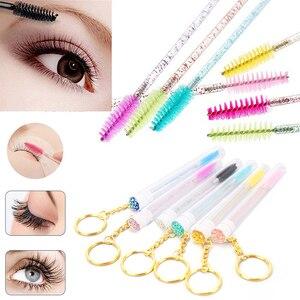 Disposable Glitter Eyelash Brush With Tube Eyebrow Mascara Wand Applicator For Eyelash Extension Makeup Brushes With Key Chain