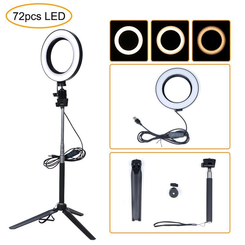 Светодиодный светильник для фотосъемки, холодный теплый светильник для селфи, светодиодный светильник с регулируемой яркостью, кольцевой светильник для телефона, видео светильник, лампа с кольцом для штатива, заполняющий светильник Youtube