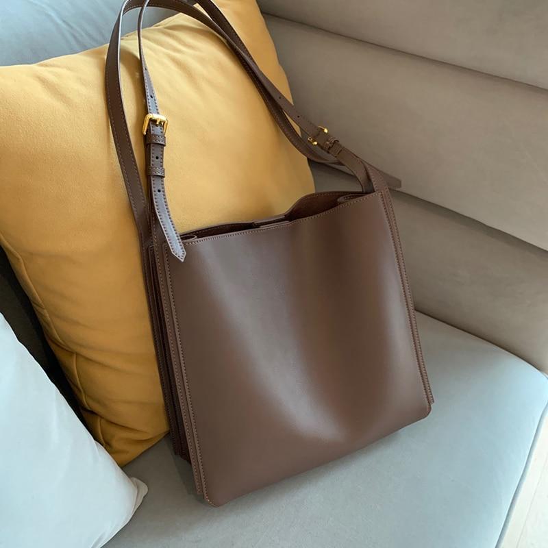 vintage women shoulder bags designer simply handbags luxury soft pu leather messenger bag large capacity buckets bag big totes