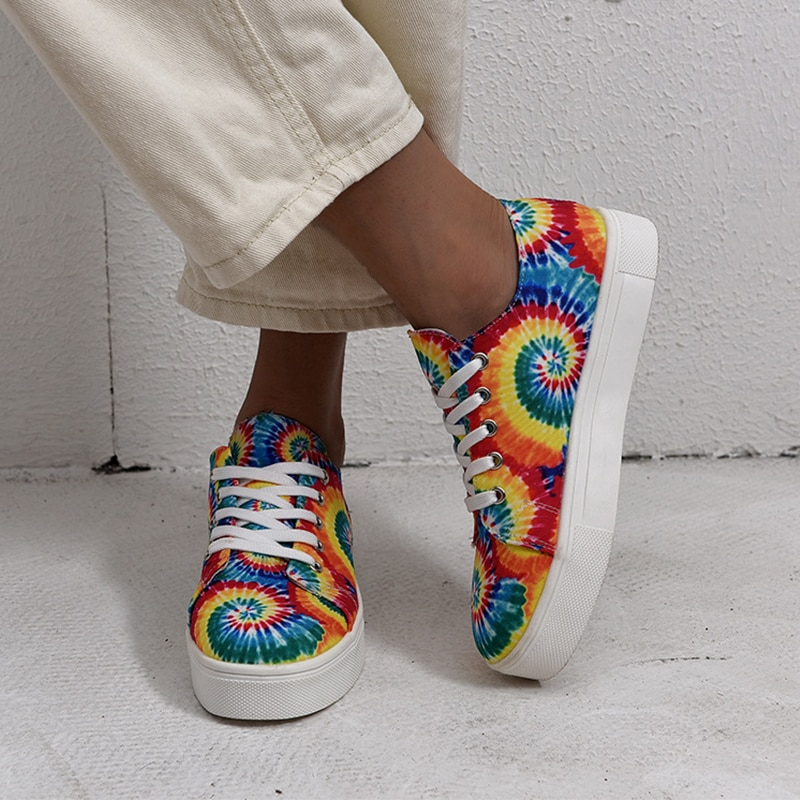 Women Platfrom Shoes Fashion Ladies Flower Printing Flats Women Casual Shoes Lace Up Comfortable Footwear Plus Size 43