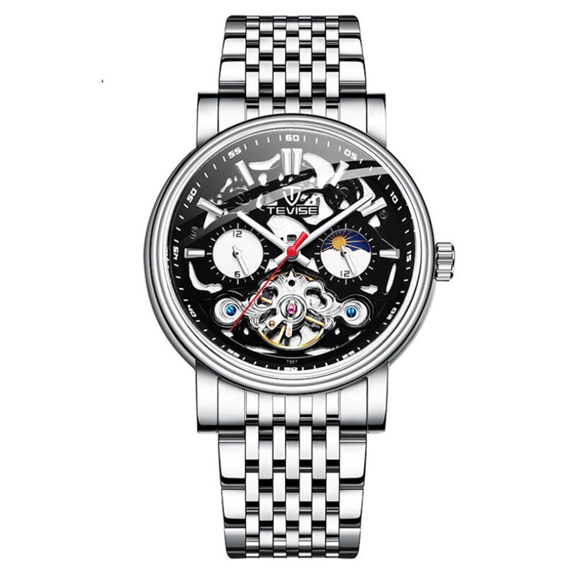 Moon Phase Automatic Self-Wind Tourbillon Watch Men Mechanical Stainless Steel Skeleton Watches Mill