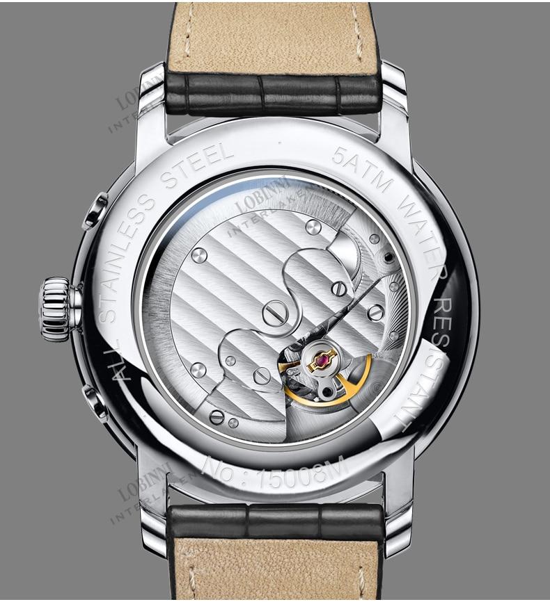 Luxury Brand Switzerland LOBINNI Men Watches Perpetual Calender Auto Mechanical Men's Clock Sapphire Leather relogio L15008-2 enlarge